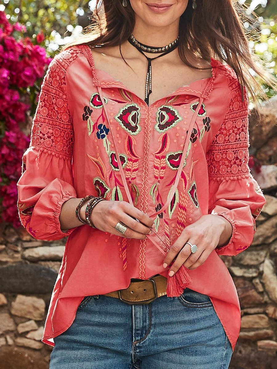 Women Casual Patchwork V Neck Long Sleeve Blouse