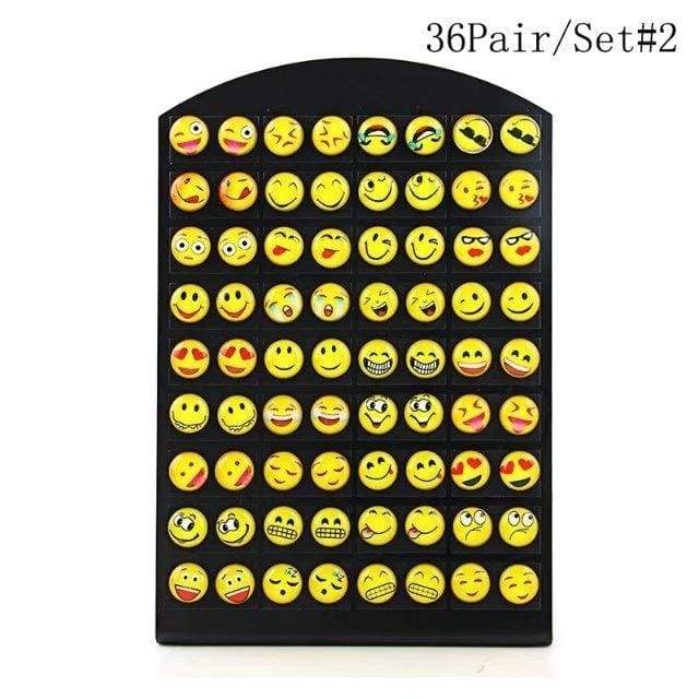 2018 Cute Women Smile expression mood Earring Set Popular Simple Holiday Leisure Charm Earrings Kit Trendy Unique 36Pair/Sets Jewelry Gifts