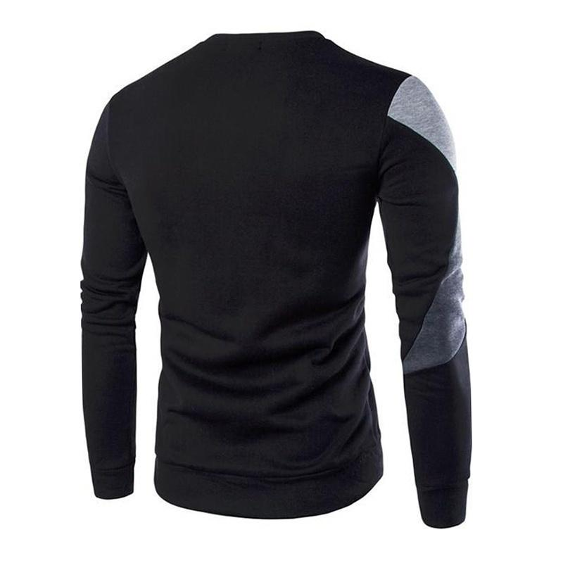 New Shirt Men's Casual Long-sleeved Windproof Warm Plus Velvet Color Matching Head Round Neck Shirt