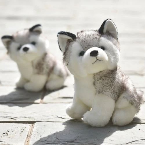 18CM Cute Simulation Husky Dog Plush Toy Gift for Kids - Gray2