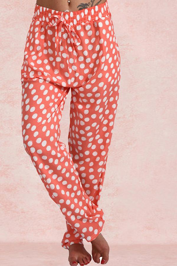 Polka Dot Lace-Up Home Casual Pant