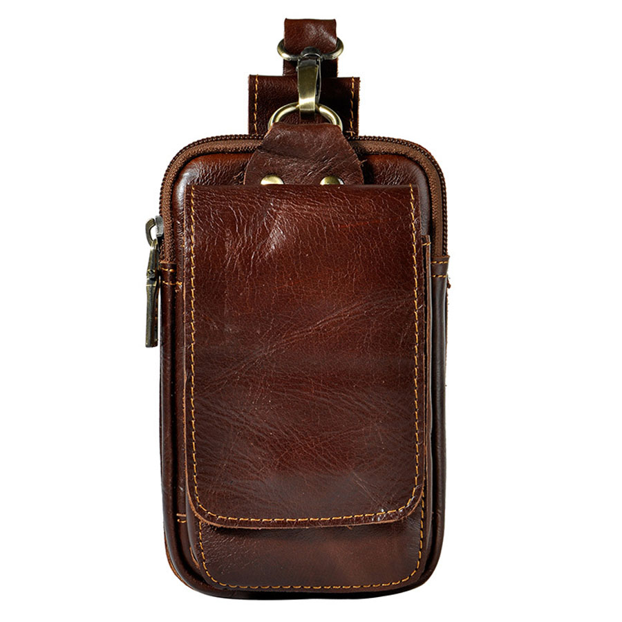 Genuine Leather Belt Pouch Waist Bag Fanny Pack 8794