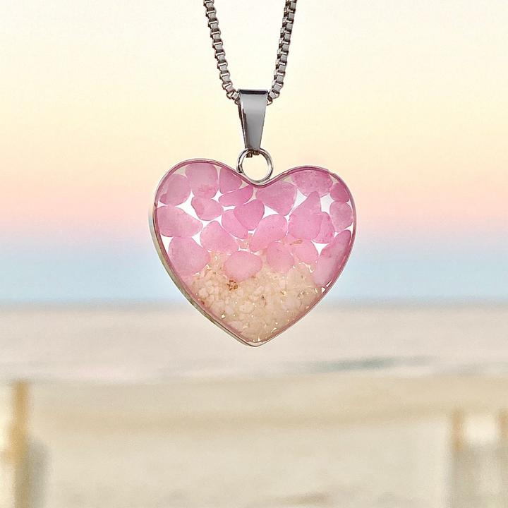 Pink Pebble Sand Heart Necklace