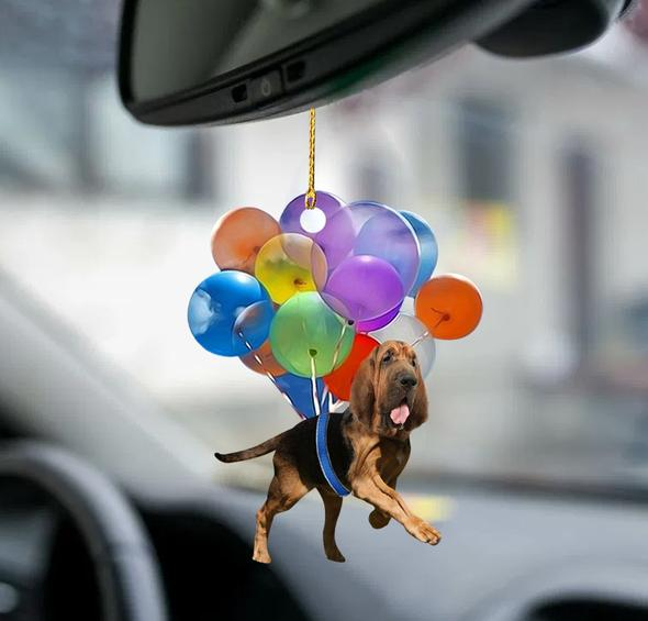 Bloodhound fly with bubbles dog hanging ornament