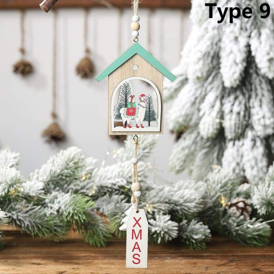 1PC Creative Xmas Tree Hollow Wooden Hanging Pendant Home Embellishment Drop Ornaments Lama Alpaca Christmas Decorations