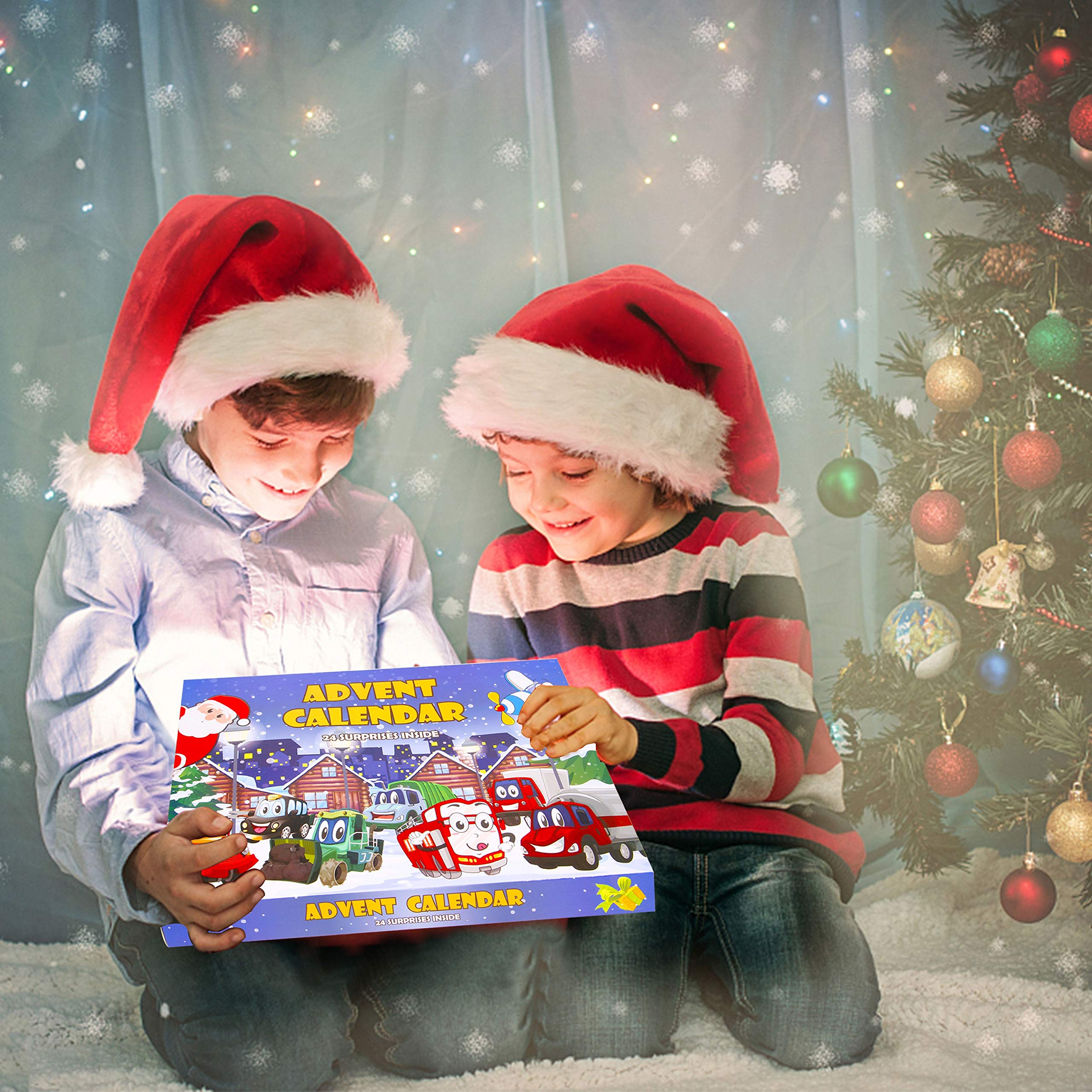 Christmas Advent Calendar with 24 Different Vehicles, Car Advent Calendar for Kids