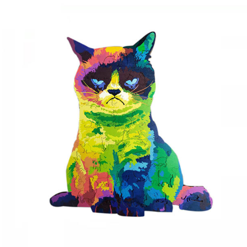 Magic Wooden Jigsaw Puzzle - Rainbow Cat🐱 | Best Gift for Children