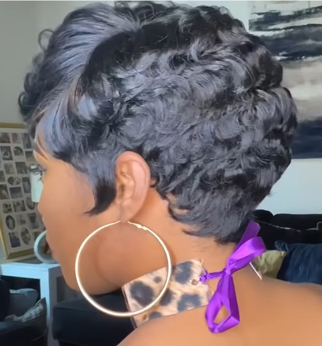 Real Hair Line Pixie Part Synthetic Wig