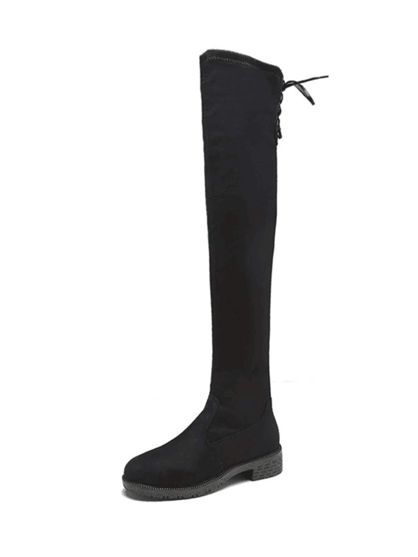 Lace Up Suede Thigh High Boots