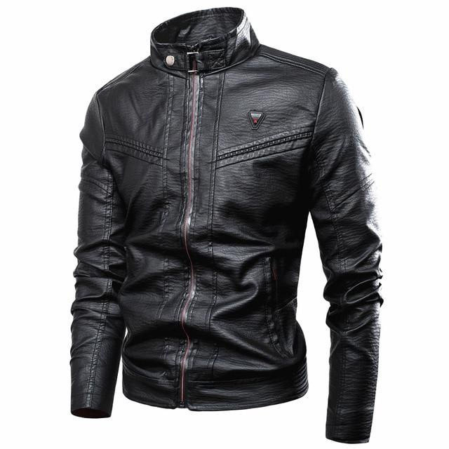 Casual Vintage Stand Collar Leather Jacket