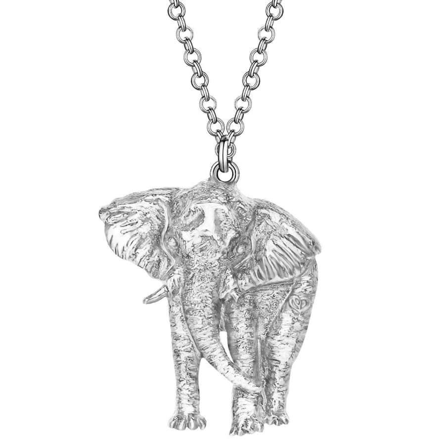 Alloy Plated Antique Silver Elegant Jungle Elephant Necklace Pendant Mental Animal Jewelry Charms Party Gift  Accessory For Teen Girls Women