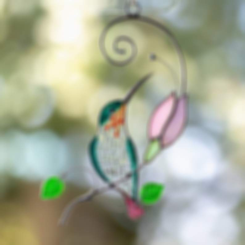 Hummingbird Stained Glass Window Hangings Mothers Day Gift Stained Glass Bird Suncatcher