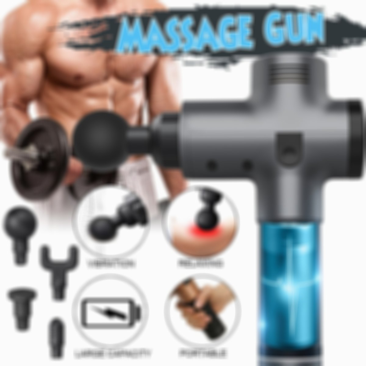 (HOT SALE- 60% OFF!!!)Multifunctional portable massage gun,enjoy relaxing at home!
