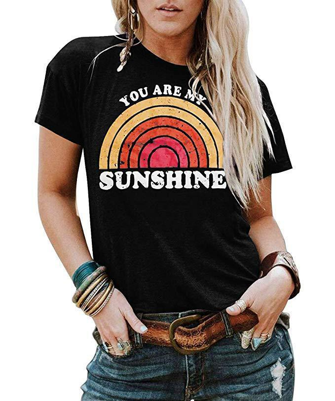You Are My Sunshine Printed Round Neck Short Sleeve T-Shirt