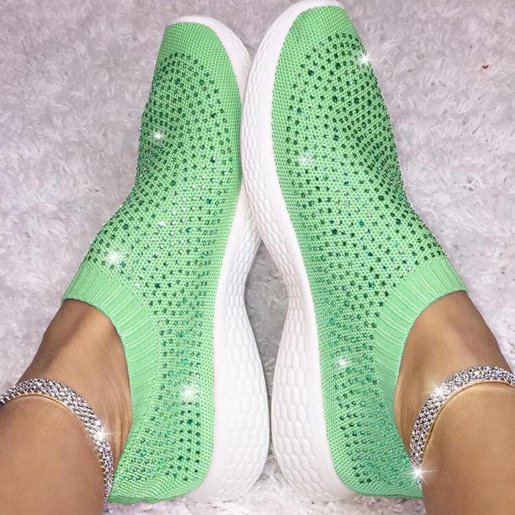 Rhinestone Breathable Comfy Sneakers Women's Slip-on Running Shoes