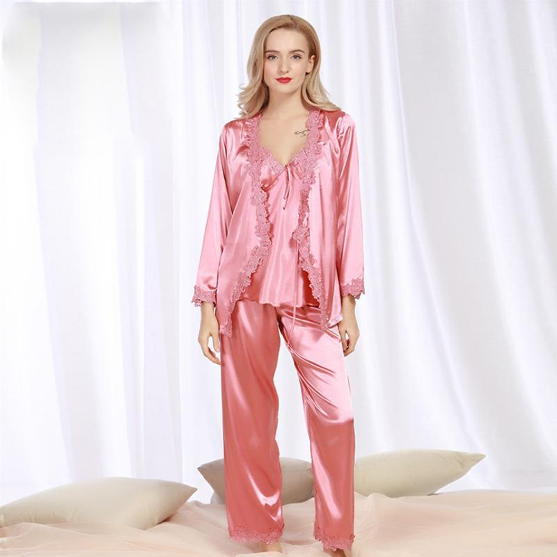 ✨NEW IN✨🔥Buy 1 Get 1 Free 🔥Ice Silk Lace Sexy three piece Home Suit(Sling + Nightgown+Pant)