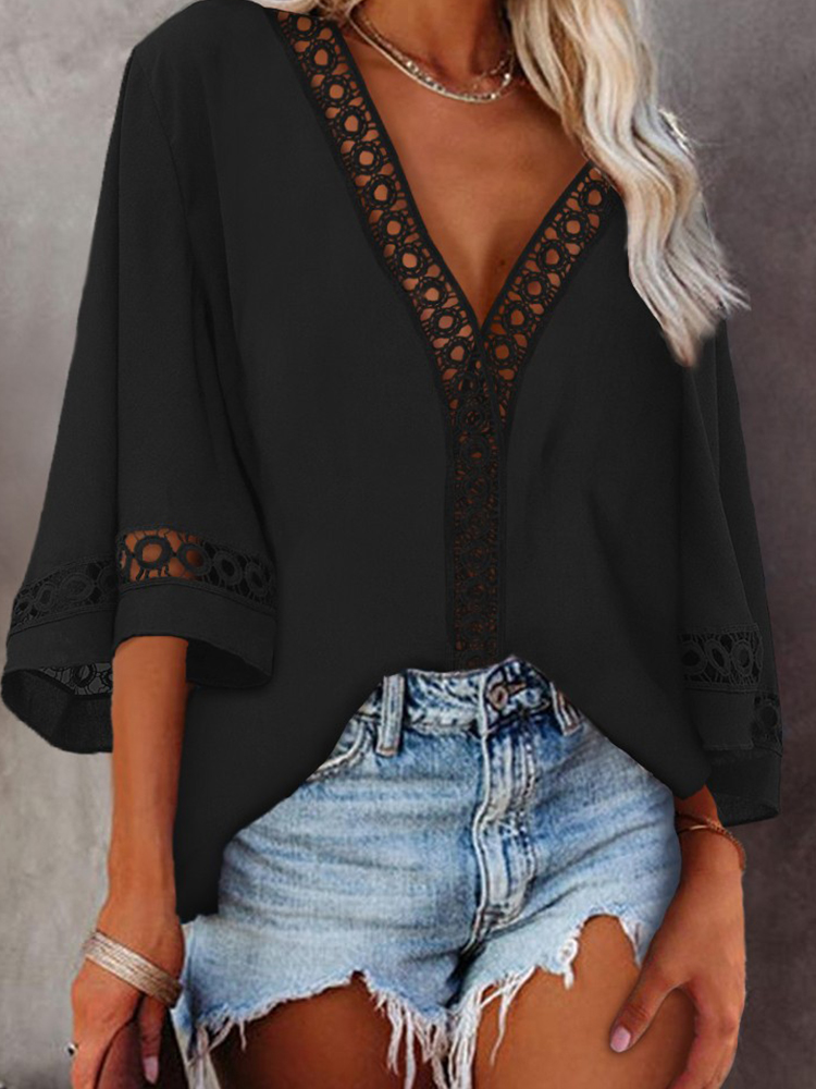 Lace Deep V-neck All-Matching Casual Hollow Shirt