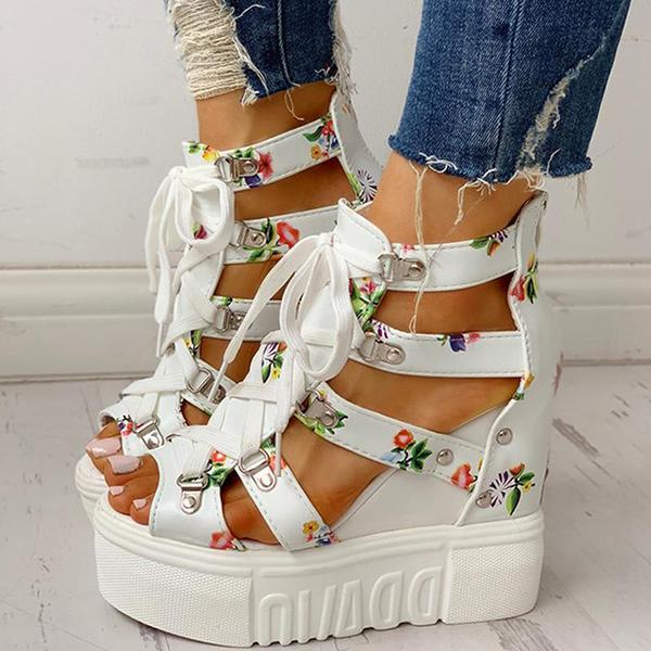 Twinklemoda Platform Shoelaces High Sandals