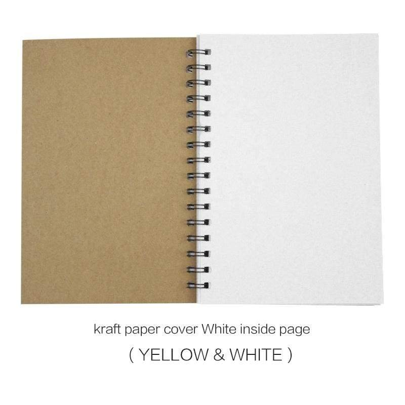 Soft Cover Spiral Blank Sketch Books Pad Notepad Notebook, Size 7.09 X 4.72 Inches Thick Unlined Paper - 350g Kraft Paper Cover, Kraft Color Blank 100g, 100 Pages/ 50 Sheets Per Book Ideal for Writing, Planning, Drawing and Journal Refills