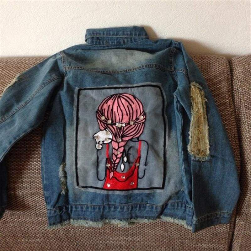 Spring Baby Girl Jeans Coats Clothes Children Clothing Kids Outwear Sequins Little Girl Design Kids Denim Jackets Coats