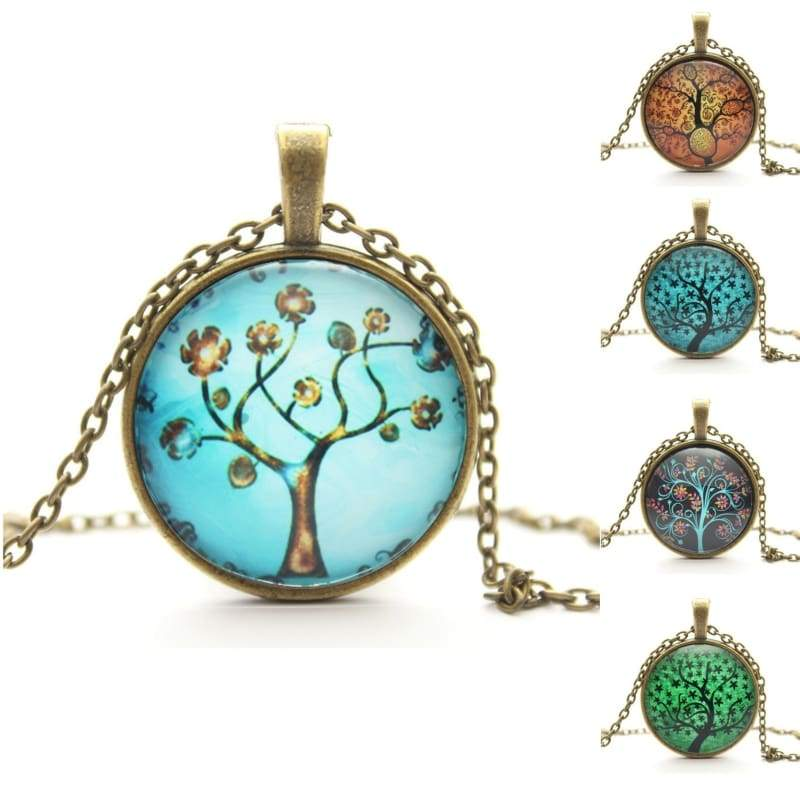 Tree Of Life Pendant Necklace, Eternal Tree Art Picture Glass Cabochon Chain Vintage Necklace, Women Jewelry