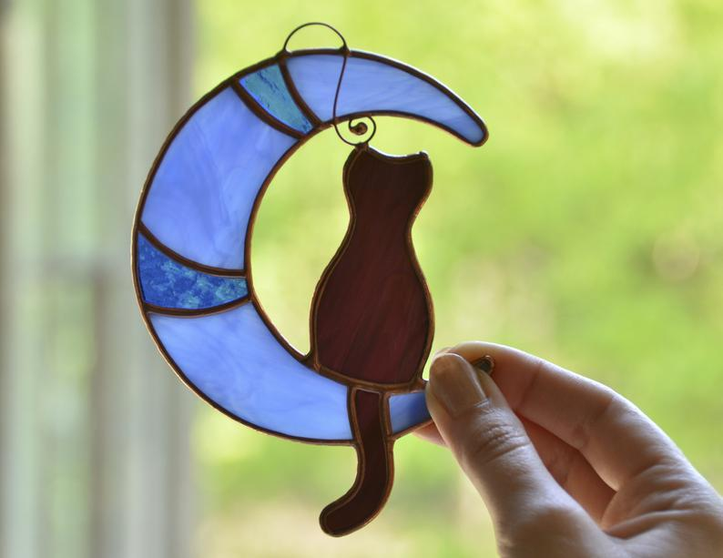 Stain Glass Black Cat On The Moon