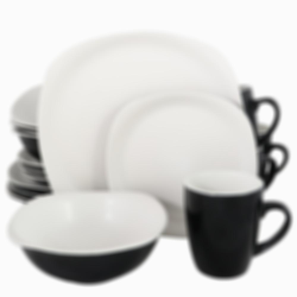 Gibson Home Tristen 16 Piece Soft Square Stoneware Dinnerware Set in Matte White