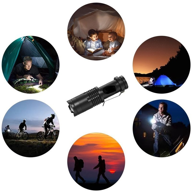 3 Mode Portable Mini Cree Led Flashlight Torch Adjustable Focus Zoom Light Lamp for Outdoor Fishing Camping Hiking Riding
