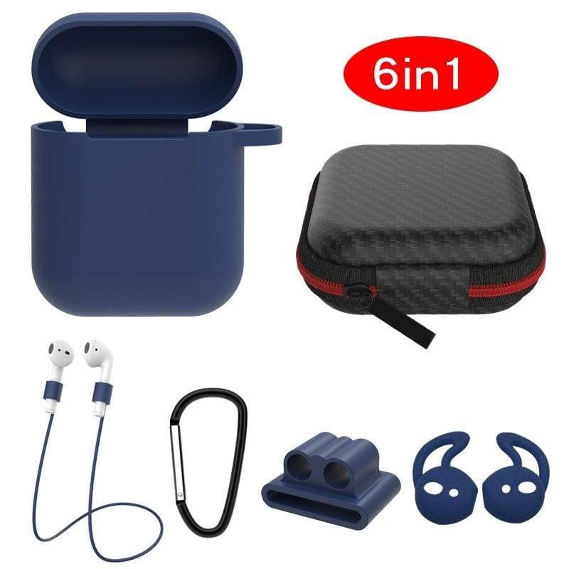 Airpods Silicone Protective Cover Applicable to Apple Wireless Bluetooth Headset Protective Cover Earplug Receiving Pack 6-in-1 Set