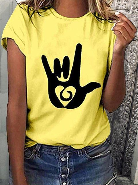 Woman Short Sleeve Casual Abstract Crew Neck Shirts & Tops