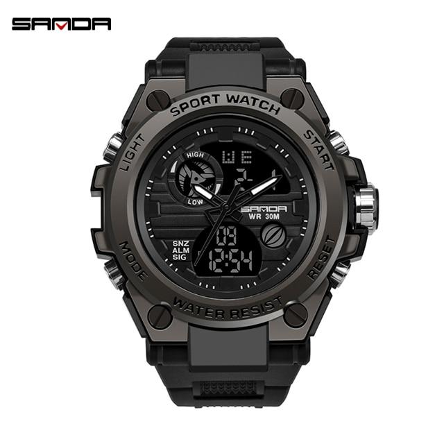 【Buy1 get 1 Bracelet】SANDA Professional Military Men's Sports Watches Digital LED Army Dive