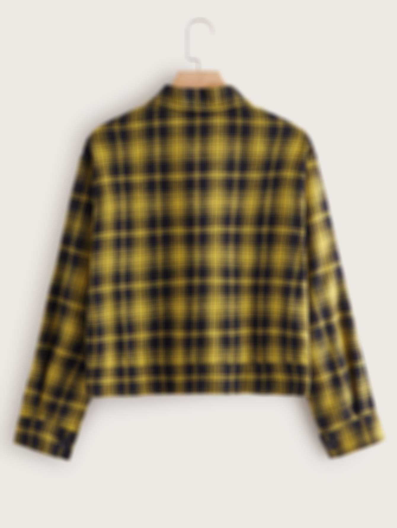 Plus Plaid Dual Pocket Patched Jacket