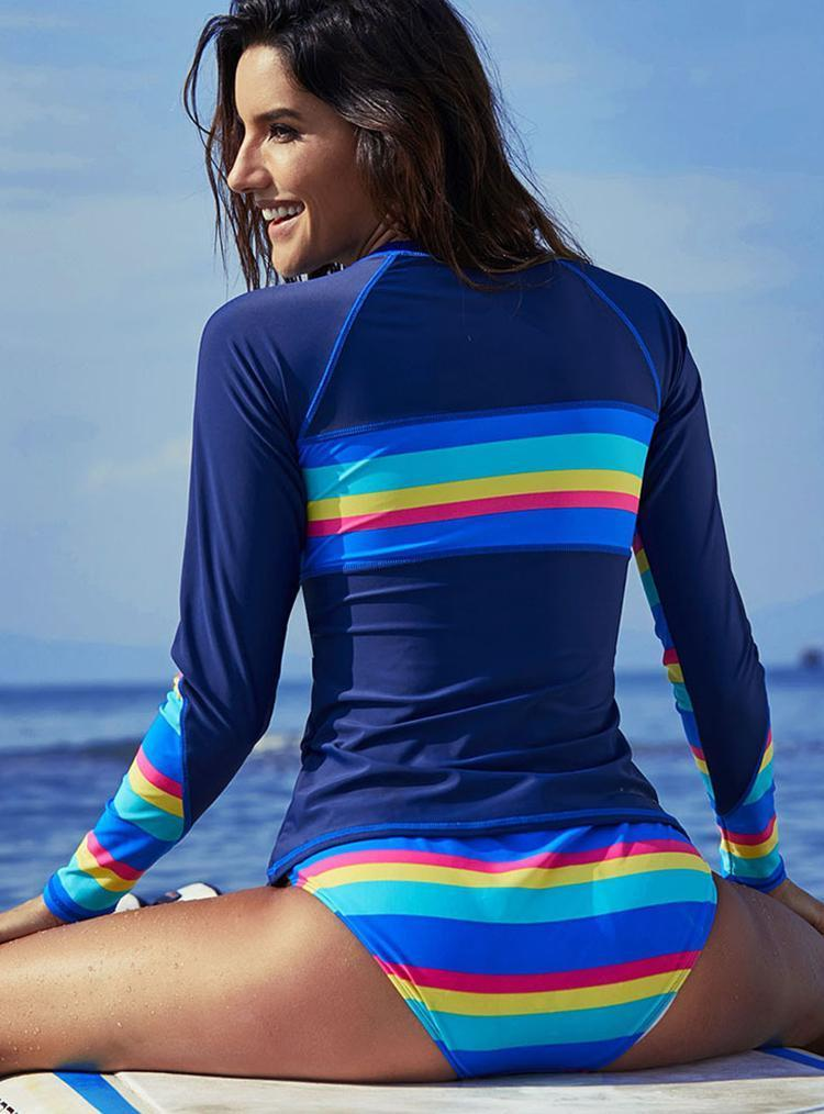 Quick Drying Long Sleeve Sun Protection Surfing Large Size Bathing Suits