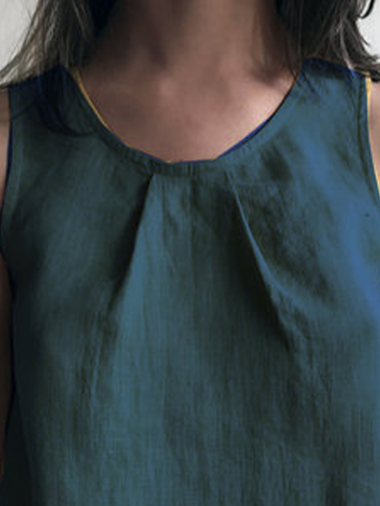 Solid Color Round Neck Sleeveless Vest