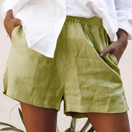 Summer Casual Plain Pocket Short Pants For Women