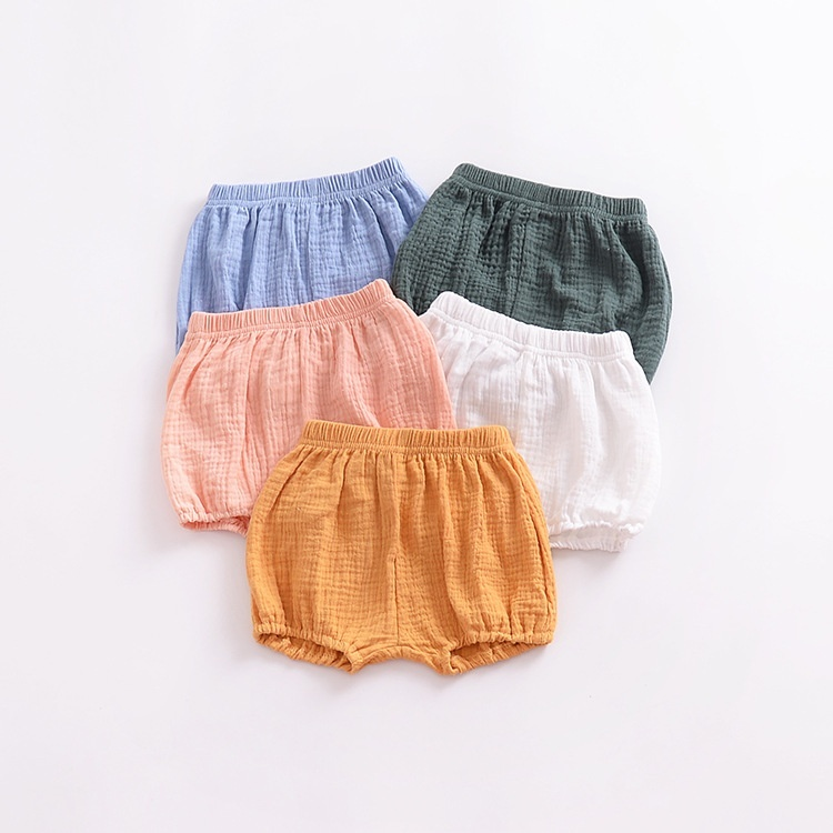 Summer Kids Fashion Loose Solid Color Regular Shorts Baby Bread Elastic Waist Pants Casual Children Boys and Girls Cotton PP Shorts Corduroy Pants
