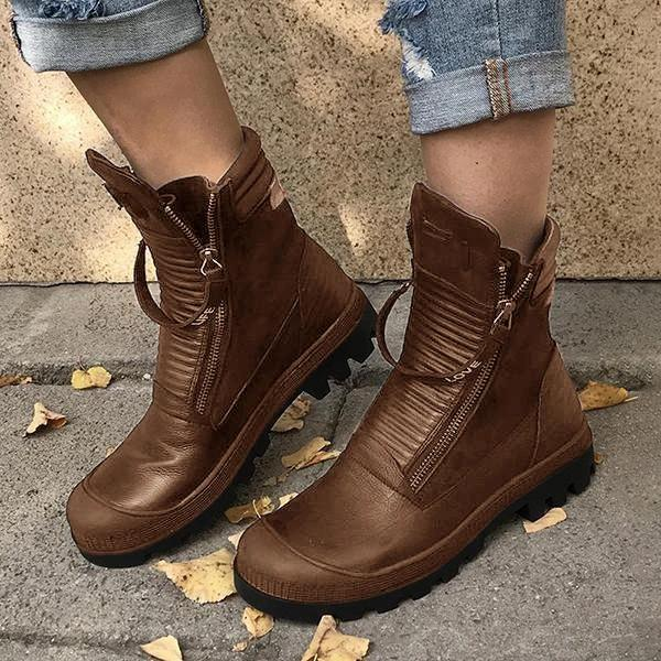 Faddishshoes Comfortable Pu Leather Ankle Boots Low Heel Zipper Boots