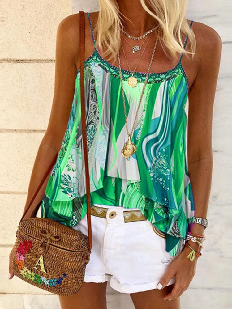 Women Loose Abstract Print Camisole