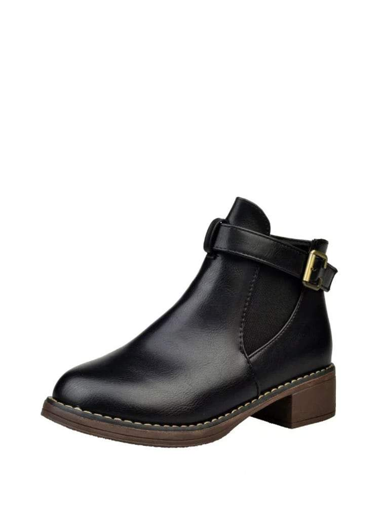 Side Buckle PU Elastic Ankle Boots