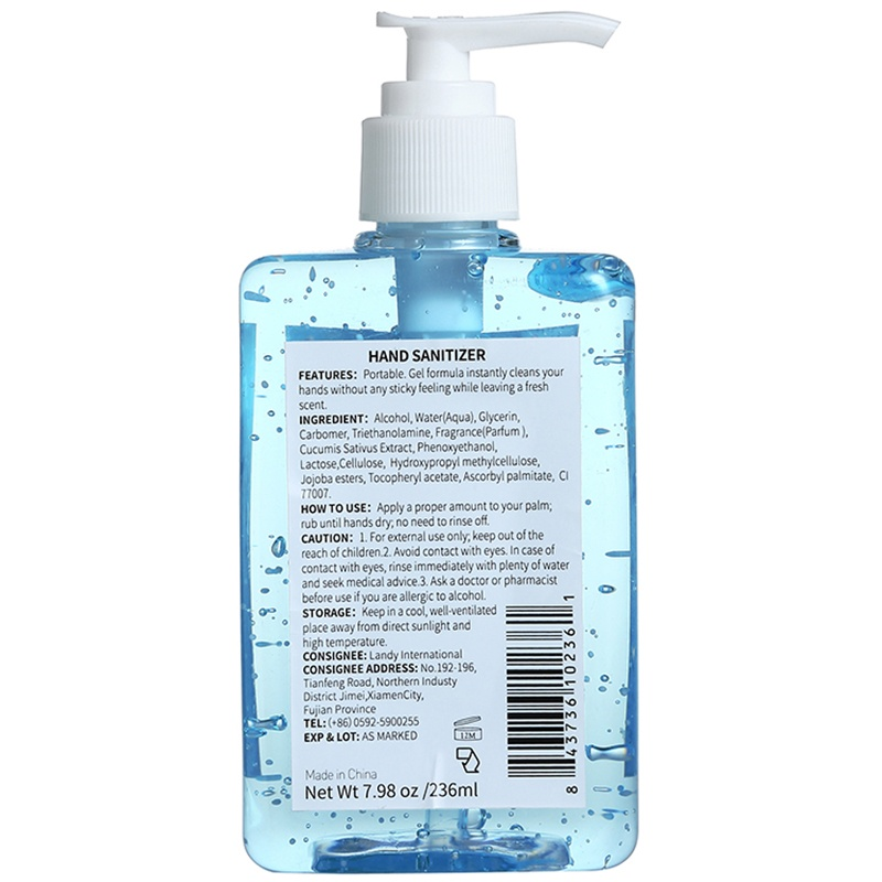 5 Pack Set Hand Sanitizer Gel with Alcohol Instant Advanced Natural Household Hand Sanitizers Antibacterial Hand Sanitizer Gel 236ml/50ml