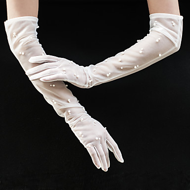 Tulle Opera Length Glove Party / Evening / Elegant With Faux Pearl / Trim