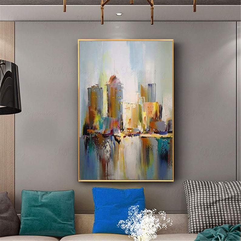 Abstract painting wall art pictures for living room wall decor bedroom hallway Hong Kong canvas cityscape original gold acrylic home decor