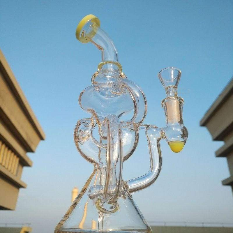 New 10'H 'American Fluorescence' Cyclone Pipe Recycler 3 Splited Perc Hookah 14mm Female Joint