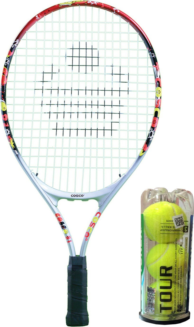 Cosco Combo of 2, 1 Drive 21 Racquet (4 to 6 years), 1 Box Tour Ball Multicolor Strung Tennis Racquet(Pack of: 4, 230 g)