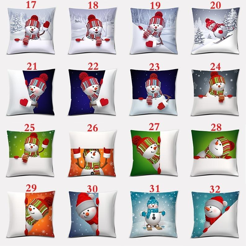 Christmas cartoon character snowman Christmas decoration double-sided printing square pillowcase home office decoration (45cm * 45cm)