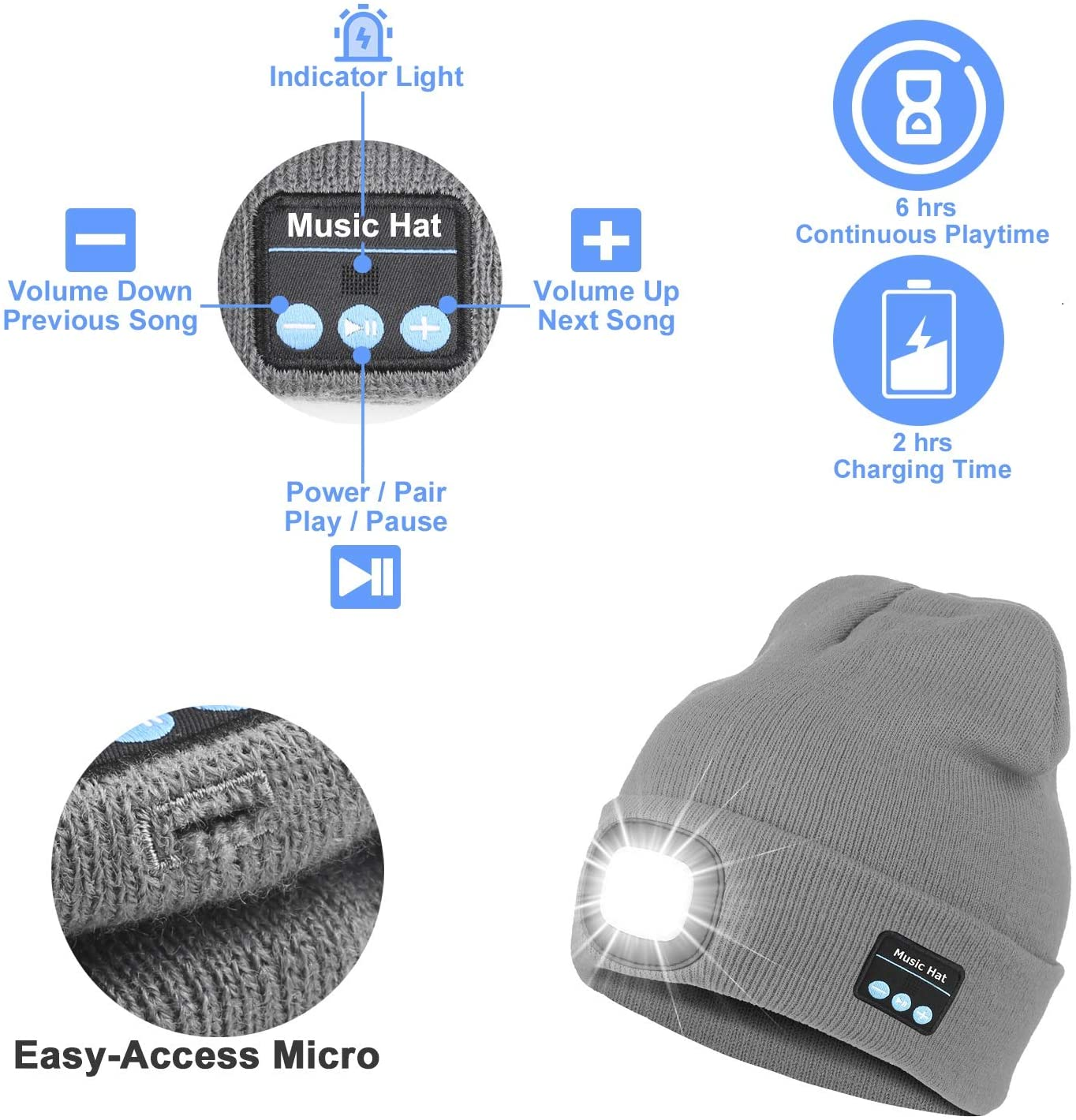 UNISEX KNITTED BLUETOOTH BEANIE HAT WITH LED LIGHT