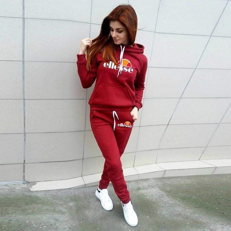 Women Logo Printed Hoodies + Pants Set Casual Tracksuits Sport Clothing Fashion Sets
