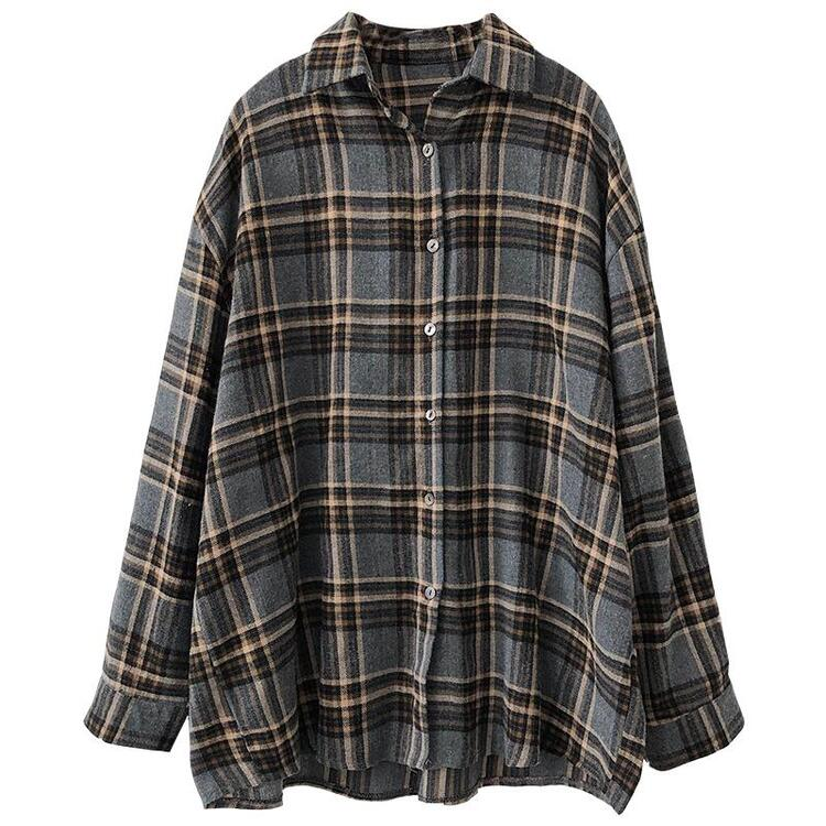 Autumn and winter stacked classic plaid shirt wild casual college style shirt jacket