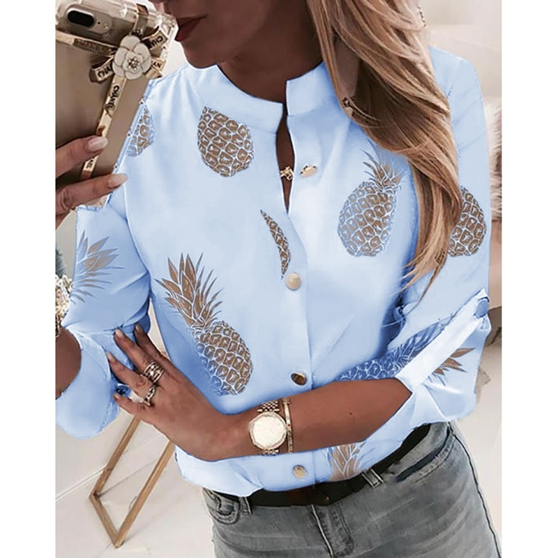 Spring Autumn New Women Pineapple Pattern Printed Blouse Fashion Long Sleeve Button Shirt Woman Autumn Casual Tops Tee Shirt S-5XL 5 Colors