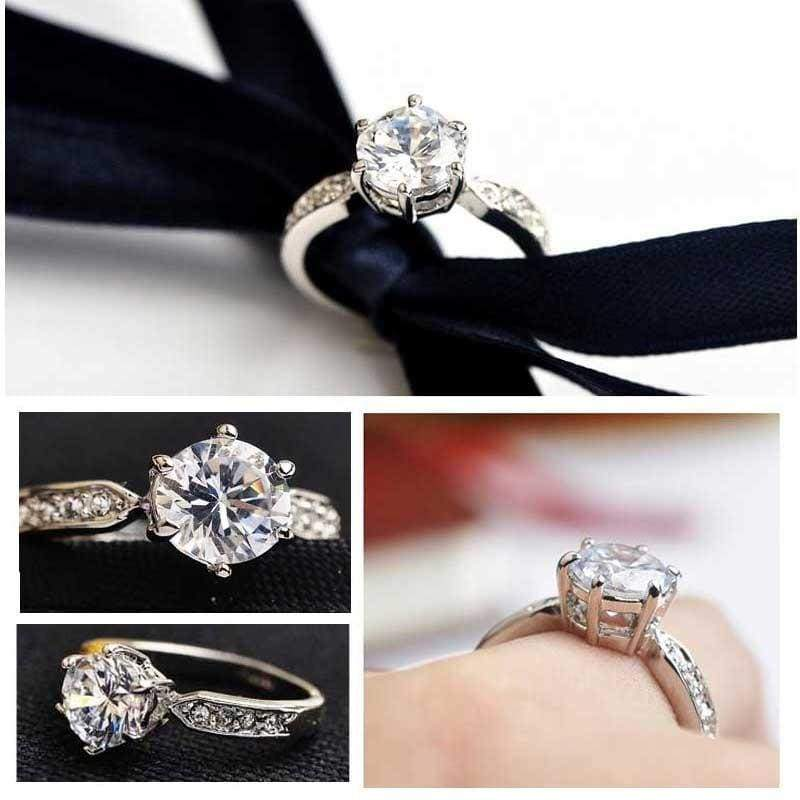 Romantic White Cubic Zirconia Silver Wedding Rings